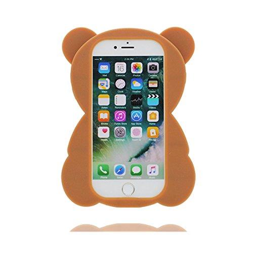 iPhone 6S Custodia, iPhone 6 Copertura 4.7, Carina TPU Case Cartoon 3D Cover ( Cartoon gatto ) shell morbido bianca Marrone