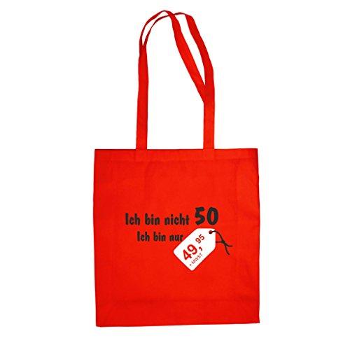 Baumwolltasche Jutebeutel -- Ich Bin Nicht 50! Ich bin nur 49,95 Rot-Schwarz
