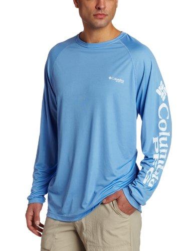 Columbia Herren Terminal Angriff Langarm T-Shirt, XX-Large, White Cap (Blau), Weißes Logo (Langarm-jagd-t-shirt Logo)