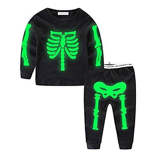 Funnycokid Kleine Jungs 2Pcs Outfits Skelett Florescent Lange Ärmel Tops + Hosen Halloween Kleidung Setzen (Halloween-tops)