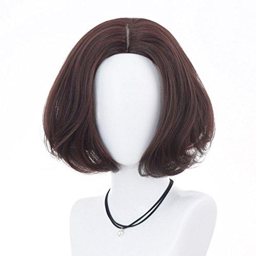 Chang Xiang Ya Shop Kurze Perücken der Temperamentart und Weise flaumige Realistische Kurze Perücken des lockigen Haares dunkelbraune hübsche Bobo Perücken Volle ()