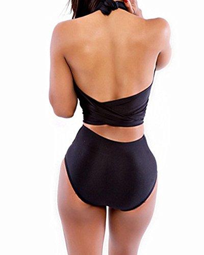 Donne Halter Bandage Bikini Costumi Da Bagno Vita Alta Costumi Da Bagno Swimwear Nero