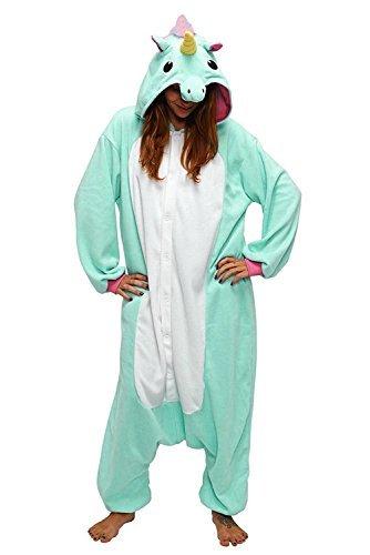 Combinaison Pyjama Licorne Unisexe Costume Cosplay Déguisement Grenouillère Animal- Très Chic Mailanda (S, Vert)