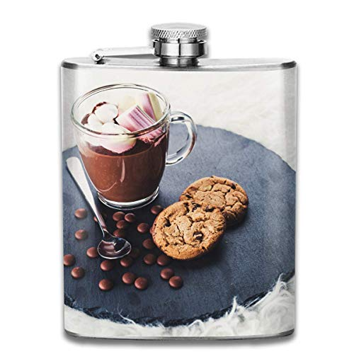 Edelstahlflaschen 7 Unze Hot-Chocolate-with-Marshmallow-Whiskyflaschen-Hüftflaschen-Dichtigkeitsdurchmesser Wein Männer Frauen