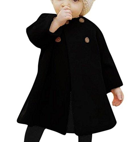 Kinderkleidung Kapuzenpullover Sweatjacke Hirolan Herbst Baby Mädchen O-Kragen Outwear Kinder Mantel Taste Jacke Warm Winter Mantel Lange Ärmel Kleider Prinzessin Baumwolle Party Kleid (60, Schwarz) (Junge Prinz Kostüm Ideen)