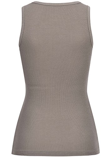 B-Ware-Violet-Fashion-Damen-Tank-Top-gerippte-Optik-deko-Knopfleiste-Brustpocket-braun