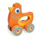 NBLYW Die Laufkatze der kreative Kinder, hölzerne Handfangendes Spielzeugsimulationstier, Gegentaktspielzeug 0-2 Jahre alte Kleinkindjunge und -mädchen,Orange