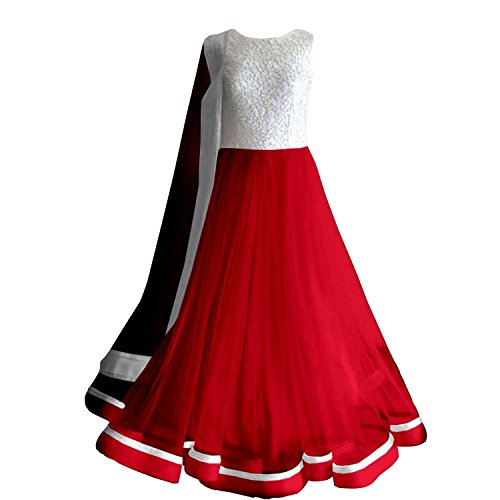 Clickedia Women\'s Faux Georgette Silver Red Anarkali Salwar Suit Dress Material (Red_Free Size)