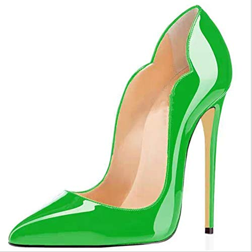 LIANGXIE Spring Fall Women ' S Closed Toe Pumps WARUT Court Shoes PATENT Leather Heel Woman Purps SEXY Zapatos Mujer Tacon Black RED Women ' S HIGH Heels Shoes,Green,35 Patent Dolly