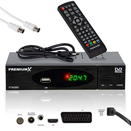 PremiumX FTA 530C Full HD Digitaler DVB-C / C2 TV Kabel-Receiver | Auto Installation USB Mediaplayer SCART HDMI Antennenkabel WLAN optional | Für digitales Kabelfernsehen