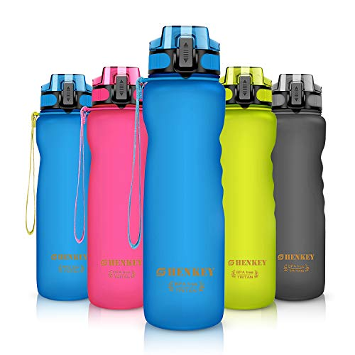 shenkey Sport Trinkflasche, 600ml / 800ml / 1L BPA-frei und umweltfreundlich Wiederverwendbare Plastik-Wasserundurchlässige Wasserflaschen mit Filter ideal für Radfahren, Laufen, Yoga, Wandern