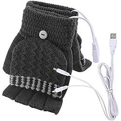Unisexe femmes et hommes USB chauffé gants mitaines hiver mains chaudes gants d'ordinateur portable complet et demi chauffé sans doigts chauffant mains