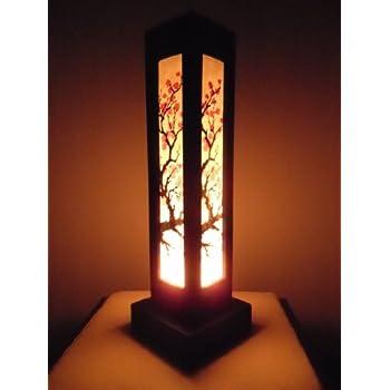 Thai wood lamp handmade oriental japanese red sakura for Handmade decorative items for bedroom