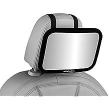 """Jollie Rodney bebé coche Espejo–para posterior del coche asientos–PREMIUM CALIDAD, tamaño Extra grande, 360Degree ajuste, irrompible, Negro–90días garantía de """"no hay problema."""
