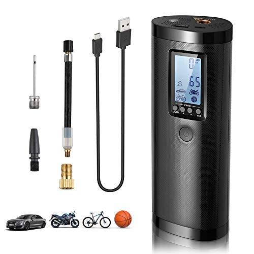 Vastar Compresseur d'air Portable Mini Gonfleur Electrique Digital avec Grand Ecran LCD Lampe LED à Batteire...