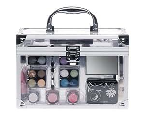 Treffina Casuelle Boîte à maquillage avec cadre en aluminium et panneaux acrylique Transparent