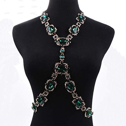 Breast Form Store (LQ-breast chain Körperkette - Kristall Edelstein Körperkette Strand Hals X Form Hochzeit Zubehör Damenschmuck)