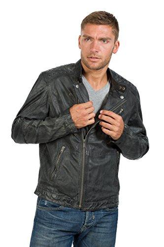 Super modische Lederjacke schwarz Vintage Lederjacke antik Trendmodell vom Lifestylelabel Trapper! Black