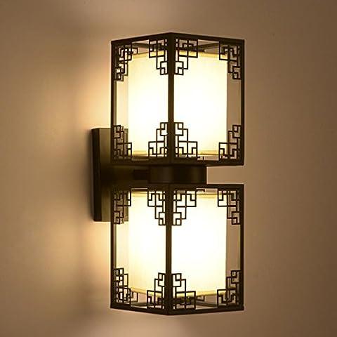 HY-FHLJ Chinesische Art (Gold-überzogene Gold + alte Glasur + mattes schwarzes Eisen + Leinenschatten) Retro- Nachttisch-Schlafzimmer-Wand-Lampe , black , double