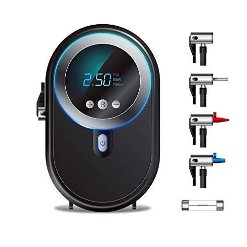 QYLT Reifenfüller, Luftkompressor-Autoreifenpumpe mit LED-Licht, Digitalem Manometer 12V zum Aufpumpen von Reifen, für Autoreifen, Basketballfußball und Andere Schlauchboote