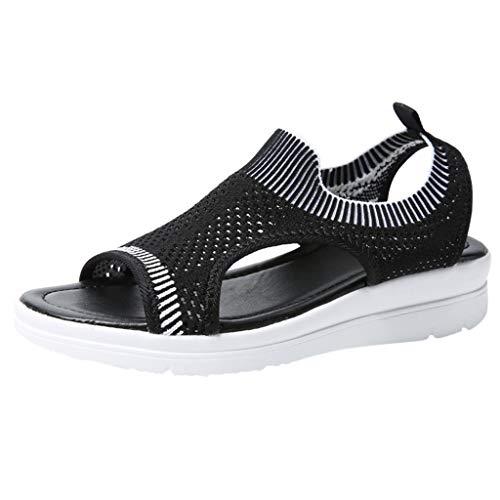 Ballet Boot (BASACA Sandalen Damen Frauen Mädchen Atmungsaktiv Komfort Aushöhlen Lässige Sommer Schuhe Frau Keil Mode 2019 (36 EU, Z-Black))