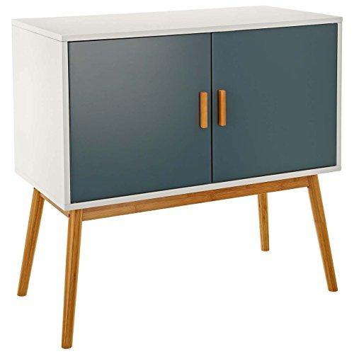 """LOMOS Design Kommode \""""Lasse\"""" aus Holz in weiß mit zwei grauen Flügeltüren"""