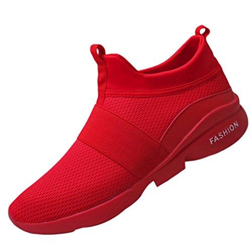 Mode Turnschuhe Herren,❤️Absolute Männer Atmungsaktive Mesh Schuhe Beatifable Wild Slip-On Freizeitschuhe 2018 Sommer Neue Gym Skate Sneakers Flach Laufschuhe (EU:42/CN:43, - Rot Skate-schuhe Nike