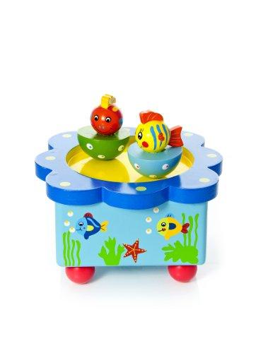 Farbenfrohe Meereswelt Baby Spieluhr Spieldose Holz spielt Musik aus der Sesamstraße Geschenk für Junge und Mädchen