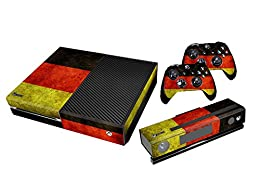 Xbox One Protective Vinly Skin Sticker Consola Decal Pegatinas + 2 Controlador & Kinect Skins Set (Flags Germany)