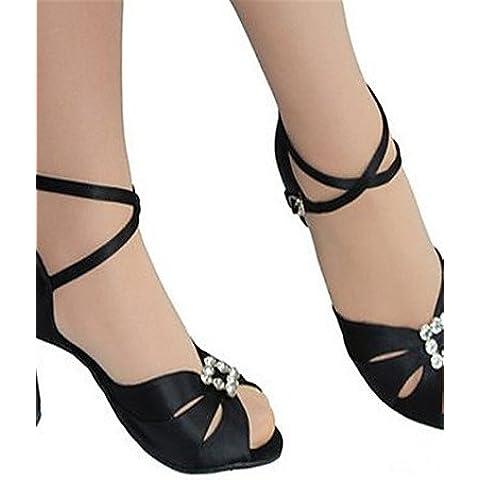 ELA- Scarpe da ballo - Non personalizzabile - Donna - Latinoamericano - Tacco a rocchetto - Satin - Nero , black-us7.5 / eu38 / uk5.5 / cn38 , black-us7.5 / eu38 / uk5.5 / cn38