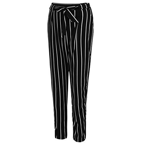 Fanxing Women Plus Size Pencil Pants-High Waist Bandage Stripe Casual Trousers (schwarz, 2xl) - Bandagen Plus