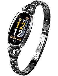 ZEERKEER Intelligente Armbanduhr für Frauen FitnessTracker Kette Jewlrey Herzfrequenzüberwachung Kalorienzähler Schrittzähler Wasserdicht Nachricht Erinnerung Schwarz