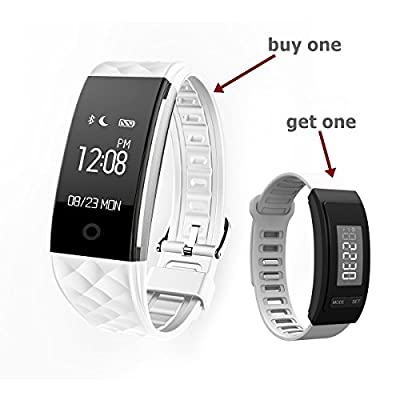 Smart bracelet fitness tracker sport bluetooth smart fitness bracelet Activity trackers with Pedometer Dynmic Heart rate monitor Bicycle-riding mode Multi-sport Mode exercise tracker pedometer bracelet Waterproof IP67 For Android & iOS Phones (Buy one and