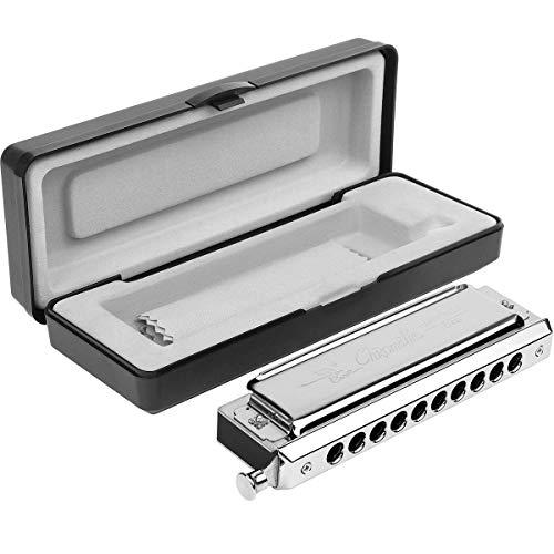 Eastar Chromatische Mundharmonika C Dur 10 Löcher 40 Töne Silber Harmonika mit Vorzüglicher Kasten und Reinigungstuch
