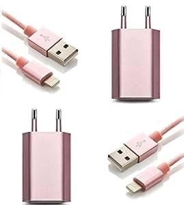 iProtect Kit de recharge 2x câble USB Lightning 1m en nylon + 2x adaptateur - rose doré