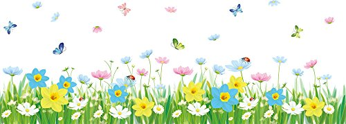 Solimo Wall Sticker for Living Room (Floral Fence with butterflies,  ideal size on wall: 120 cm x 43...