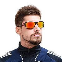 Polarized Sunglasses for Men Women Square Frame Steampunk Sunglasses UV Protection(blue) Glasses (orange)