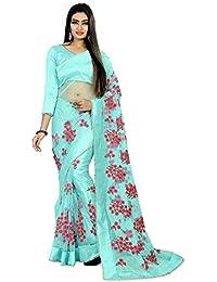 Sabaira Women's Mono net Fabric Sky Blue Color Embroidery Work Saree (SBRSA3207_Sky Blue_Free Size)