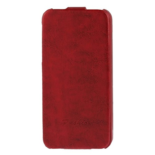 Wkae Case & Cover deluxe rétro flip pu étui avec fashion logo pour iphone 5 &5 &se &se ( Color : Red ) Rouge