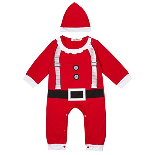 Weihnachts Overall Baby JungenKostüm Rot,ZEZKT Weihnachtsmann Overall mit Santa Hut Set Weihnachten Party Strampler 0- 24Monate (0-6 Monate, Rot) (Neugeborenen Santa Anzug)