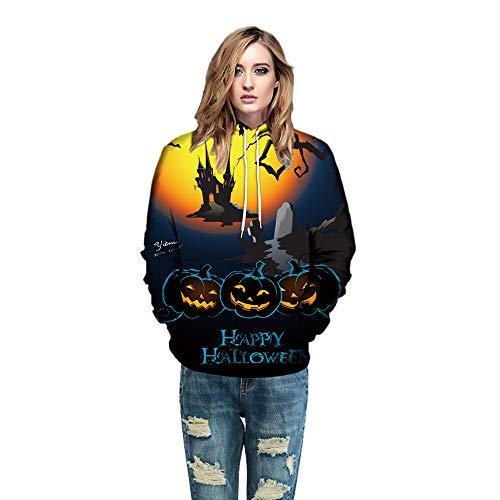 VEMOW Heißer Herbst Liebhaber Scary Halloween Kürbis Grimasse 3D Print Casual Sport Party Hoodie Top Sweatshirt(Gelb, EU-42/CN-M)
