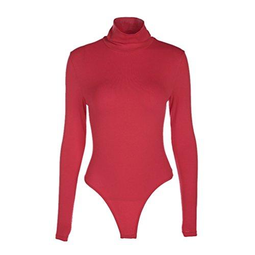 YiLianDa Body Donna Collo Alto Felpato Maniche Lunghe Basic Sexy Nuovo Rosso