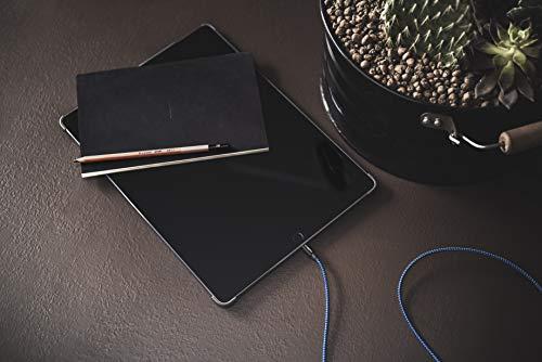 CABBRIX Cable Phone Chargeur vers USB Bleu Noir 1,5m Cable Nylon Tressé Robuste avec Connecteur Ultra Résistant en Aluminium pour Phone XR XS X 8/8 Plus 7/7 Plus Se 6s/6s Plus 5c 5s Pad Pro Air M