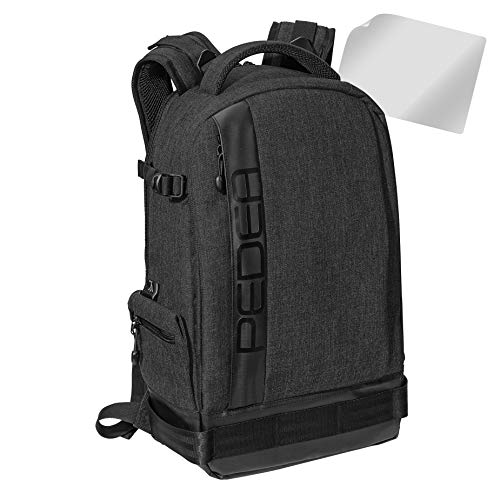 PEDEA DSLR-Kamerarucksack 'Fashion' mit Displayschutzfolie für Canon EOS 5D 5D Mark II 400D 2000D / Nikon D60 D80 D90 D3100 D3200 D3300 D3400 D5300 D7100 / Pentax K 30 K 50 K 500, schwarz