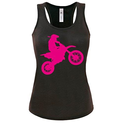 Motocross Tanktop Motorrad Damen Tank-Top Gr. S -XL Biker Shirt Schwarz-Neonpink