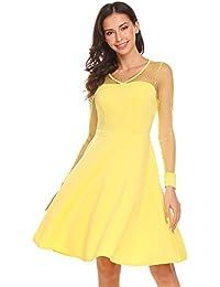 Zeela Damen Elegant Spitzenkleid Retro Vintage Kleid V-Ausschnitt Langarm  Swing Rockabilly Abendkleid Ballkleid Cocktailkleid 56dbded3bd