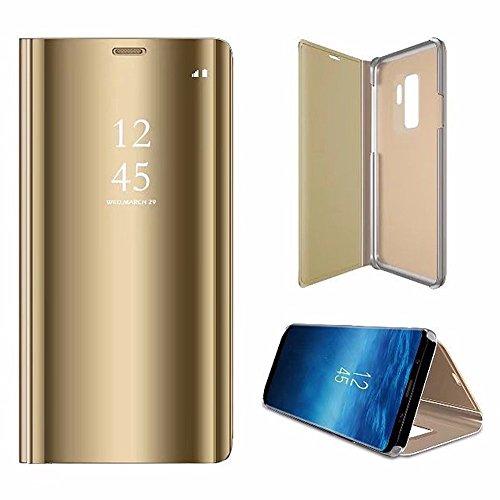 SaKuLa Hülle Huawei Mate 8, [Ultra Slim] Mirror Flip Case Schutzhülle Spiegel Kview Ledertasche mit Glitzer Backcover,PU Klapphülle Folio Kunstledere [Standfunktion],Golden