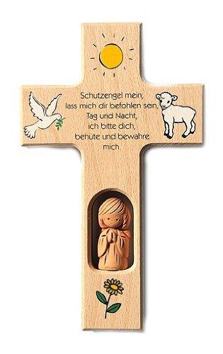 Schutzengelkreuz mit Tonengel 'Schutzengel mein...'