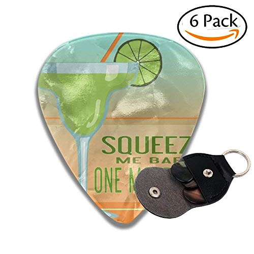 Margarita Squeeze Me Baby One More Lime Colorful Celluloid Guitar Picks Plectrums For Guitar Bass .6 Pack 71mm