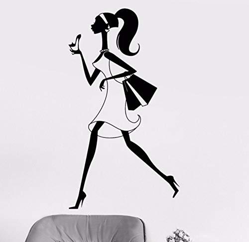 Lvabc 42X76 Cm Schaufenster Vinyl Wandtattoo Shopping Girl Shopaholic Stilettos Shop Mode Aufkleber Sexy Gilrs Kunstwandgemälde Für Schlafzimmer